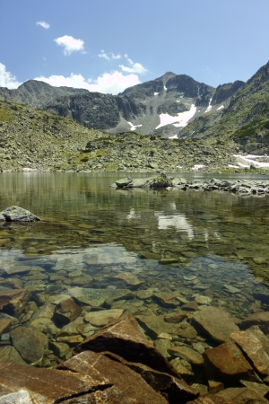 in high mountain: High mountain landscape with lake