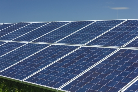 solarcell: Electric photovoltaic solar panels cells on a field