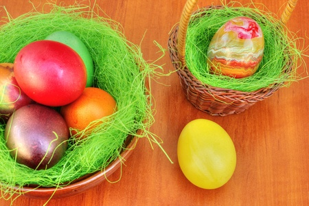 Colorful painted Easter eggs photo