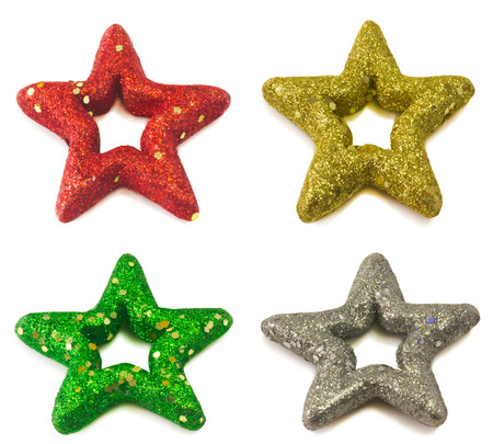 Christmas stars isolated on white photo