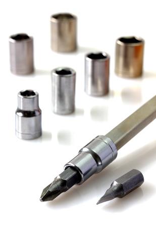 disassemble: Mechanical bit tool set Stock Photo