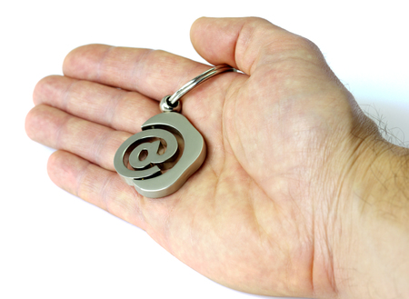Email symbol in hand Stock Photo