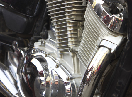 Shiny motorcycle engine photo