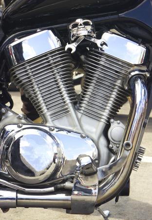 Shiny motorcycle engine with decoration photo
