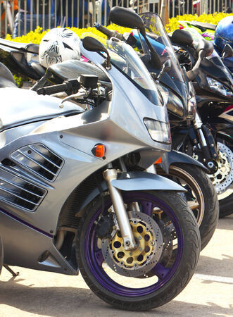 Front motorcycle wheel Stock Photo