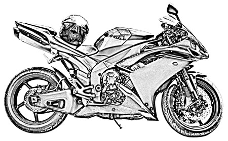 motorcycle drawing pics  Motorcycle Drawing Stock Photo, Picture And Royalty Free Image ...