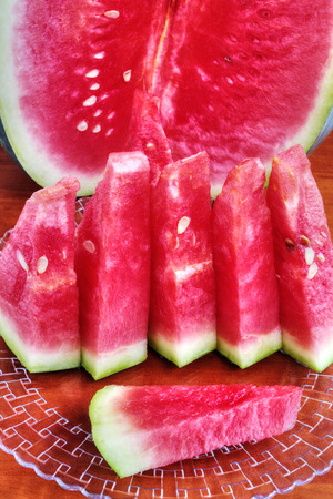 Watermelon on wooden table