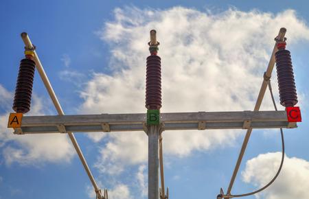 busbar: Three phase high voltage busbar Stock Photo