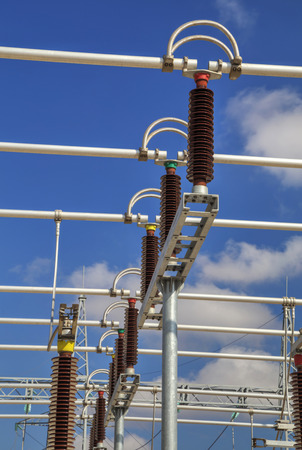 three phase: Three phase high voltage busbar Stock Photo