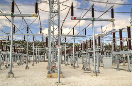 isolator switch: High voltage switchyard in electrical substation