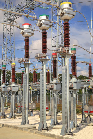isolator insulator: High voltage switchyard in electrical substation
