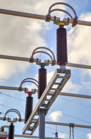 switchgear: High voltage switchyard in electrical substation