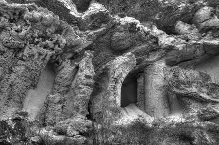 Rocky landscape in black and white