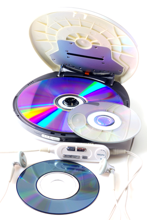 audio player: Portable CD audio player isolated on white