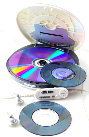 Portable CD audio player isolated on white photo