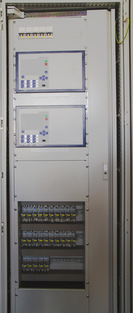 control panel lights: Control panel in modern electrical substation