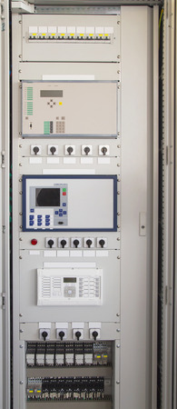 Control panel in modern electrical substation photo
