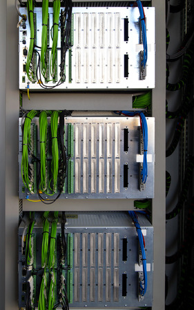 control panel: Control panel with relay protection devices Stock Photo