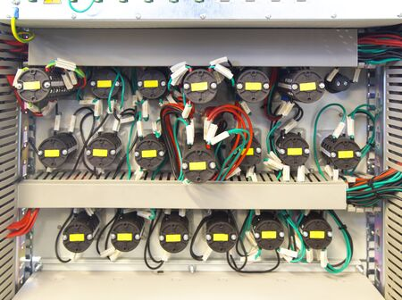 control panel lights: Electrical control panel inside view Stock Photo