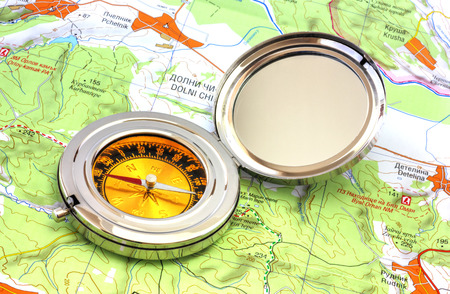 Compass over the map Stock Photo