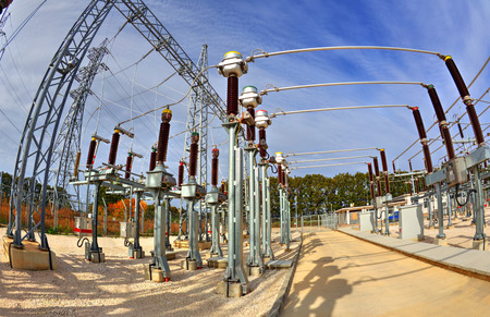 amperage: High voltage switchyard in electrical substation in fisheye perspective