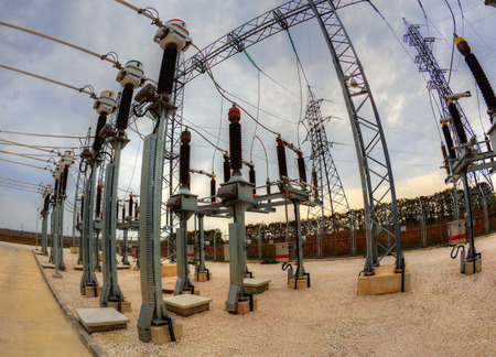switchgear: High voltage switchyard in electrical substation in fisheye perspective