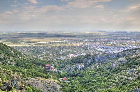 locality: Cityscape over Sliven city from Karandila locality, Bulgaria