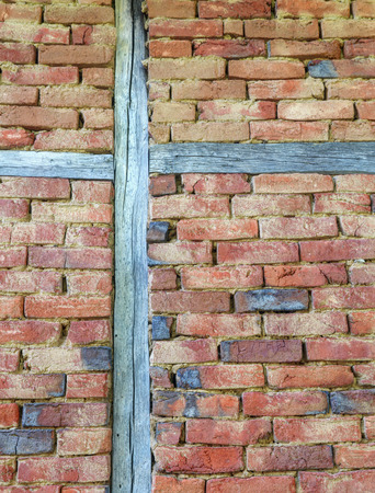 wooden beams: Stylish brick wall with wooden beams Stock Photo