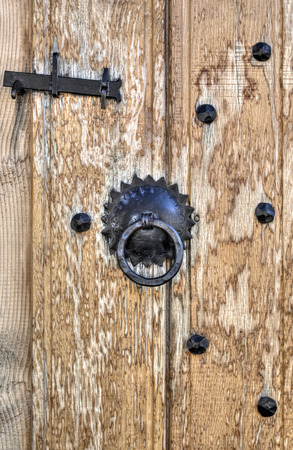 #44698982 - Wooden door with metal ornaments  sc 1 st  123RF.com & Wooden Door With Metal Ornaments Stock Photo Picture And Royalty ...
