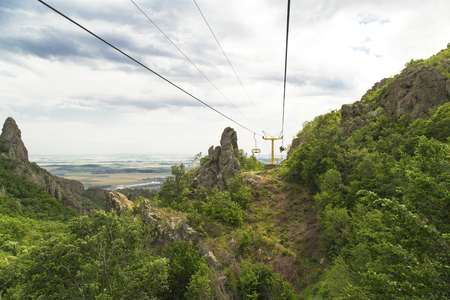 chairlift: Chairlift in the summer mountain