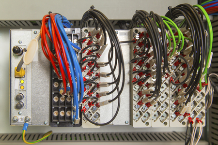 control panel lights: Relay protection device with terminals and wires