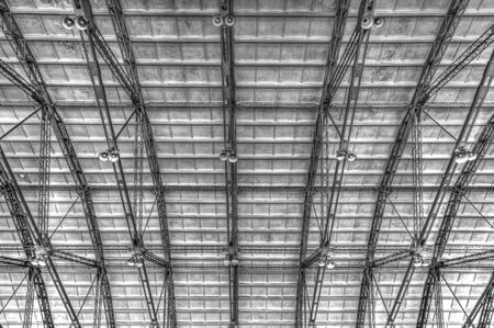 architectural architectonic: Metal roof on industrial building inside view