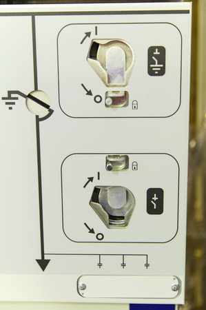 switchgear: Control panel of modern electrical switch-gear closeup