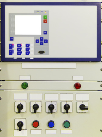 control panel lights: Electrical control panel with electronic devices in modern electrical substation Stock Photo