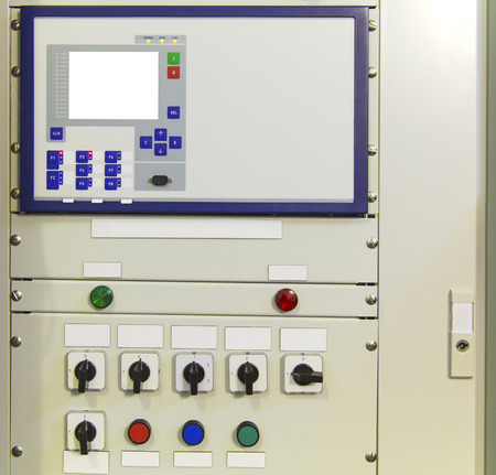 switchgear: Electrical control panel with electronic devices in modern electrical substation Stock Photo