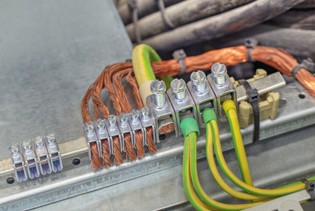 grounding: Grounding terminals and wires in industrial electrical control cubicle