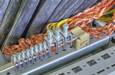 Grounding terminals and wires in industrial electrical control cubicle