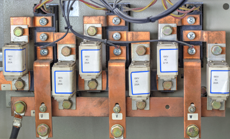three phase: Components from power supply modules closeup Stock Photo