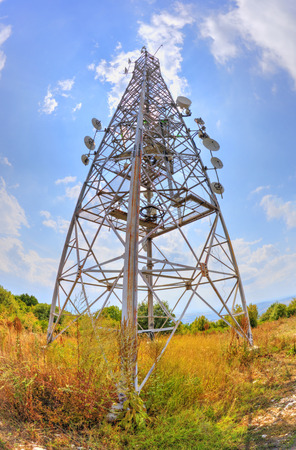 fisheye: Communication antenna tower in fish-eye perspective