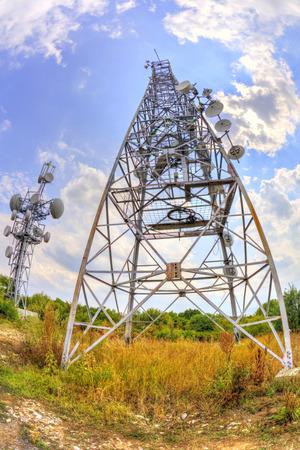 fisheye: Communication antenna towers in fish-eye perspective