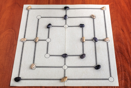 morris: Traditional board for playing Nine Mens Morris game Stock Photo