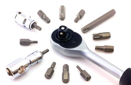 bit background: Mechanical bit tool set isolated on white background