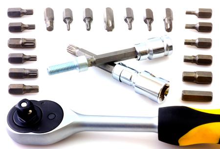 disassemble: Mechanical bit tool set isolated on white background