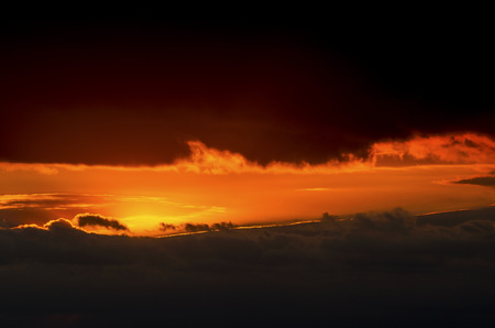 Beautiful sunset with dramatic clouds in the sky