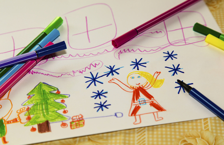 Colorful children's drawing closeup Stock Photo