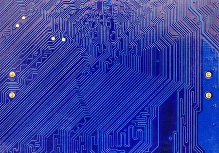Blue computer motherboard closeup