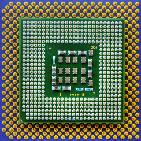 Technological background with central processing units closeup Stock Photo