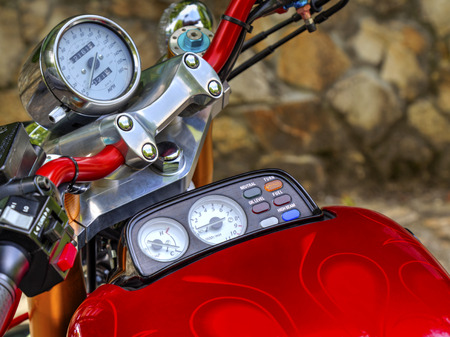 ?otorcycle speedometer closeup