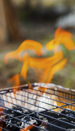Burning flames and barbecue closeup