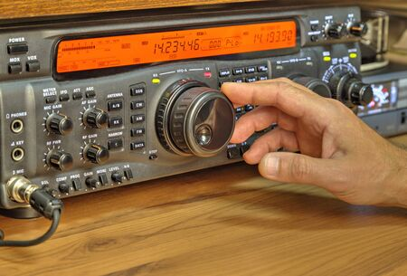 Modern high frequency radio amateur transceiver closeup